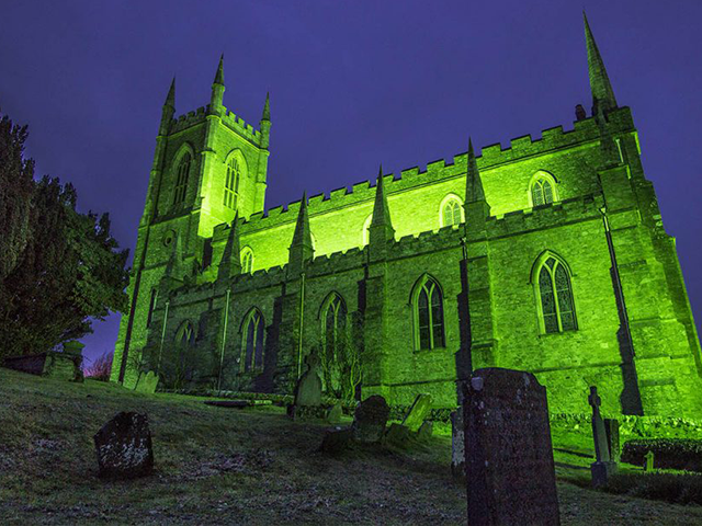 Illuminating Downpatricks Historic Buildings for St Patrick Celebrations 2019